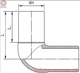 Отвод 90° литой (спигот) PE100 SDR11, SDR17