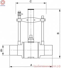 Полиэтиленовый шаровый кран с двумя продувными патрубками